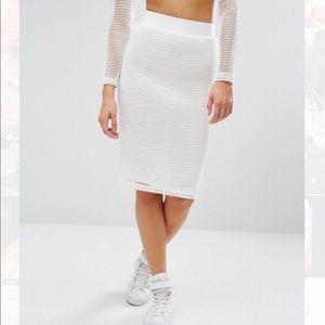 Mesh Grid Bodycon Skirt